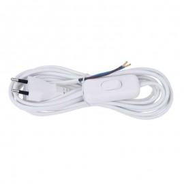 Flexo šnúra PVC s vypínačom 2x0,75mm - 3m biela