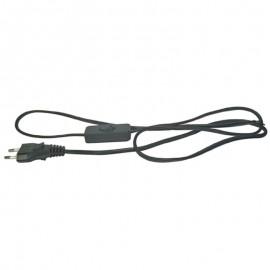 Flexo šnúra PVC s vypínačom 2x0,75mm - 3m čierna